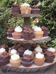rustic wedding, cupcake stand.