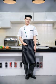 Summer Restaurant Restaurant Uniformed Skimmed Men And Women Similar Chef Uniforms Classic Restaurant Uniforms, Interview Attire, Work Uniforms, Black White Red, Work Wear, Chef Jackets, Normcore, Outfits, Business