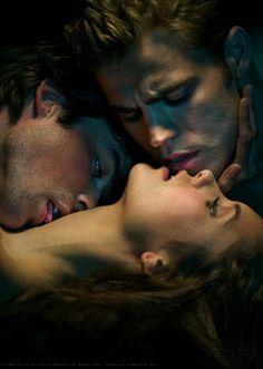 The Vampire Diaries -- Damon Salvatore - Ian Somerhalder, Elena Gilbert - Nina Dobrev, Stefan Salvatore - Paul Wesley <3