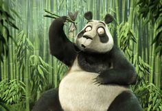 Обои Панда, рыба, косточки, бамбук