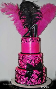 BYSP2104 feathers 21st birthday 3 tier pink and black cake with feathers