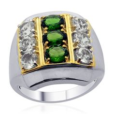 Liquidation Channel | Russian Diopside and White Topaz Men's Ring in 14K Yellow Gold and Platinum Overlay Sterling Silver (Nickel Free)