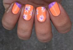 May nail art challenge no. 8: spring flowers! This came out a little more '70s than I wanted, but I love the color combo! Full details up now on the blog. #nails #nailart #neon #neonnails