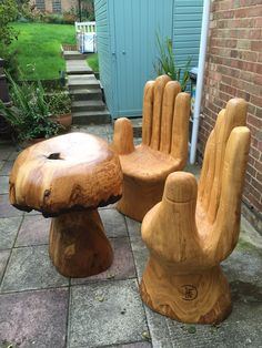 Oak pair of hand chairs and oak mushroom table