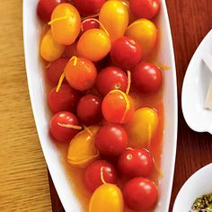 Bloody Mary bites! had these at a party once, so cute! basically vodka soaked cherry tomatoes lol