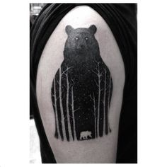 Bear tattoo love the tree-forest thing