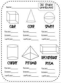 Miss Third Grade: 3D Shapes- Vertices, Faces & Edges