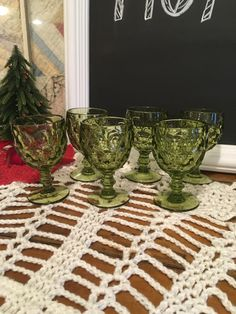 Provincial Green Goblets , Vintage Stemware , Avocado Green Goblets , Retro Green Glasses , Art Deco Goblets , Vintage Green Pedestal Glass Measure : 5 1/2 inches tall 3 1/4 inches across the mouth  Glasses are in good vintage condition with no chips, cracks, or breaks.  These study glasses would look great on your kitchen table or decorating throughout your home.  We are happy to combine shipping if you are interested in more than one item. Shipping is calculated by ETSY according to your…