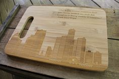 Presenting our personalized, laser engraved bamboo cutting board. This type of cutting board is great for gifting at weddings, anniversaries, and housewarmings. Surprise your friends and loved ones with a forever engraved cutting board that uniquely fits any occasion!    MATERIAL CURED BEFORE SHIPPING  The journey begins with the careful selection of materials, then on to our wood shop. All cutting boards are sealed with a combination of mineral oil and bees wax and allowed to cure for 24…
