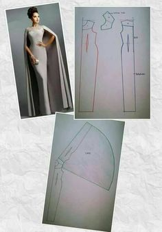 Cape Dress Dress Codes Dress Patterns Duster Coat Fashion Show Gowns Sewing Chic Model Sewing Hacks, Sewing Tutorials, Sewing Projects, Techniques Couture, Sewing Techniques, Pattern Cutting, Pattern Making, Diy Clothing, Sewing Clothes