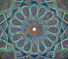 Mosaic on the ceiling of poet Hafiz's tomb in Shiraz, Iran