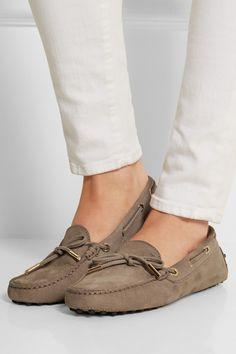 Tod's | Gommino nubuck loafers | NET-A-PORTER.COM