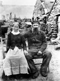 Old photograph of islanders on Havera, Shtland, Scotland  I love that she put on her nice, clean, folded, good apron for the picture...