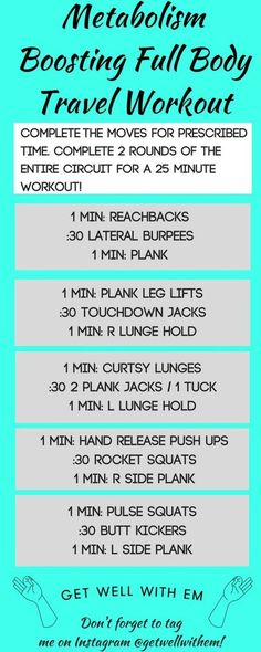 A metabolism-boosting full body travel workout to build strength and burn calories on the go! A combo of bodyweight strength and cardio moves for maximum efficiency !