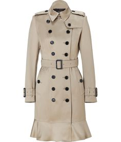 Burberry Dark Beige Long Frill Detail Littleton Trench Coat $1470