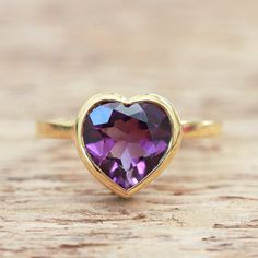 Amethyst heart ring - 18ct  yellow gold plated - pretty open back pattern - birthstone february - all sizes