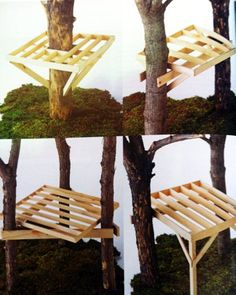 New tree house kids cool ideas Cubby Houses, Play Houses, Tree House Plans, Diy Tree House, Simple Tree House, Building A Treehouse, Treehouse Kids, Cool Tree Houses, Pallet Tree Houses