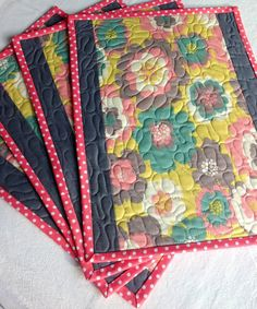 Placemats Modern Multi Color Poppies Floral Quilted by CoolSpool, $35.00