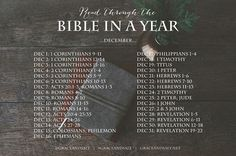 READ THE BIBLE IN A YEAR PLAN