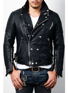 Mens Discount Tumbled Leather Biker- Jacket - Guylook