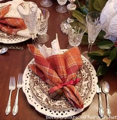 Thanksgiving Table, Pottery Barn Turkey Centerpiece Thanksgiving Table Settings, Thanksgiving 2020, Spode Woodland, Turkey Salad, Wicked Good, Waterford Crystal, Ribbon Work, Champagne Flutes, 12 Days Of Christmas