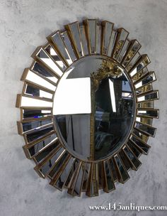 View this item and discover similar for sale at - Very large round sunburst mirror with interlocking tiers and bevel mirror in center and outer ring. Sunburst Mirror, Round Wall Mirror, Beveled Mirror, Garden Planters, Room Ideas, Contemporary, Living Room, Antiques, Health