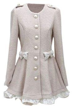 ROMWE   Lace Bowknot Long Sleeves Slim Coat, The Latest Street Fashion