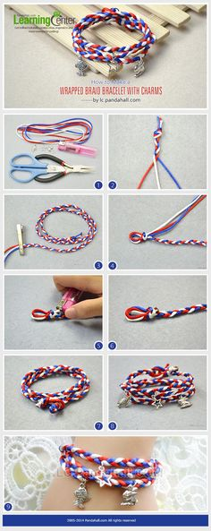 How to Make a Wrapped Braid Bracelet with Charms (How To Make Bracelets With String)