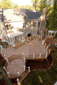 horrible combo looks like toothpicks This deck built in Maryland was made entirely with Trex decking products and features custom artistic-inlays designed with the homeowners. It's the ideal venue for backyard...