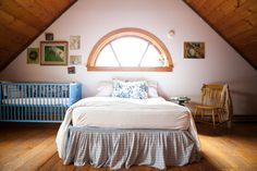 FARMHOUSE – INTERIOR – early american decor inside this vintage farmhouse bedroom seems perfect by nadia dole and tess fine.
