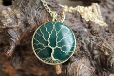 """Tree of Life Wire-Wrapped Pendant with green mountain """"jade"""" stone and Golden Wire by TwistedWireCraft on Etsy Copper Wire, Brass, Jade Stone, Green Mountain, Take A Shower, Wire Wrapped Pendant, Gift Packaging, Tree Of Life, Wire Wrapping"""