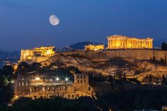 Athens, the capital of Greece, has many majestic sights for your travel vacation and honeymoon. Here we share 30 things to do on your your Athens Honeymoon. Athens Acropolis, Athens Greece, Attica Athens, Athens By Night, Places Around The World, Around The Worlds, Athens Hotel, Athens City, Affordable Vacations
