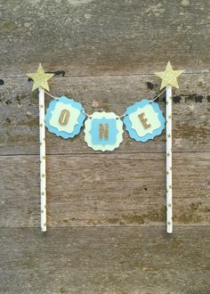 Cake Banner - Blue Green and Gold cake banner - star Banner - Boy Twinkle Twinkle Little Star Banner - Gold cake smash Banner - 1st Birthday by MBHaccessories on Etsy https://www.etsy.com/listing/264263984/cake-banner-blue-green-and-gold-cake