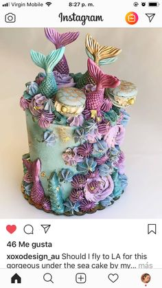 Should I fly to LA for this gorgeous under the sea cake by my talented gal Shelly 😉🤞🏻 Pretty Cakes, Cute Cakes, Beautiful Cakes, Amazing Cakes, Mermaid Birthday Cakes, Mermaid Cupcakes, Crazy Cakes, Fancy Cakes, Sea Cakes