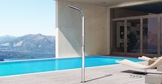 Stainless steel outdoor shower DREAM YACHT By Inoxstyle design Vegni design Lower House, Communication Design, Outdoor Living, Outdoor Decor, Italian Style, Design Awards, Pond, Swimming Pools, Stainless Steel