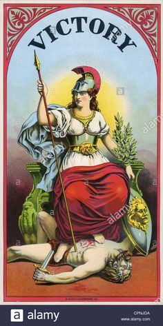 Victoria, Roman deity, impersonation of the victory, full length, lithograph, decoration for cigar boxes, USA, circa 1895, victo Stock Photo
