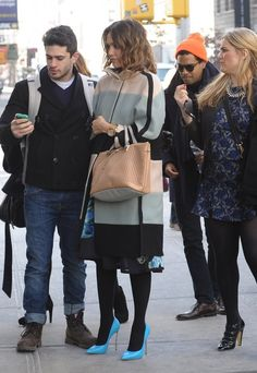 Jessica Alba wearing Chloe Baylee Perforated Satchel Casadei Blade Pumps in Blue