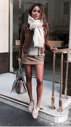 Light brown suede/denim jacket & miniskirt/minidress & grey trainers & grey handbag