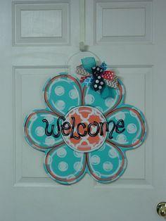 Daisy Flower Welcome Wood Door Hanger Sign by AngelenesCollection