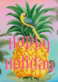 Wat een frisse kleurige ananas kaart om iemand een fijne vakantie wensen. zomerse en tropische sferen met deze kleurige kaart met ananas en papegaai