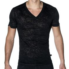 SKINNY Core V-Neck T-Shirt by Andrew Christian in Black