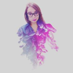 Double Exposure, Beautiful Girl, Blue and Pink