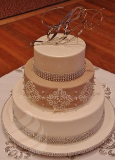 Latte Mexican Tile Wedding Cake, with lustered fondant and diamante monogram topper. 2012.
