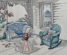 Vintage Paula Vaughan Vaughn THE PORCH SWING - Counted Cross Stitch Pattern Chart