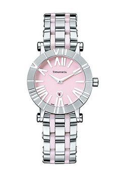 Швейцарские часы  Tiffany & Co Atlas 26860245 - женские наручные часы - белые, розовые, стальные с платиновым браслетом