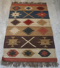 2.5x4 Feet Vintage Handmade Turkish Oriental Wool Jute Rug Kilim Rug Dhurrie  #Turkish