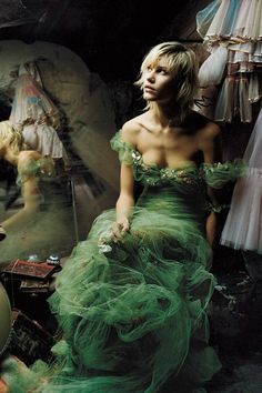 April 2002 Delfine Barfort wore a Jean Paul Gaultier gown in this April 2002 Vogue shoot, photographed by Corinne Day. Photo By Corinne Day