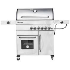 Captain Cook 5-burner freestanding gas grill with built-in warmer
