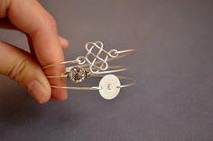 Personalized Bangle-Touch of Grace Bangle Set-Celtic Knot Bangle- Crystal Rhinestone- Silver Bangle- Bridesmaids Gifts- Minimalist Jewelry
