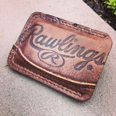 Minimalist Leather Two Pocket Wallet Made From Rawlings Baseball Mitt featuring Double Stitch by PencraftersUSA on Etsy